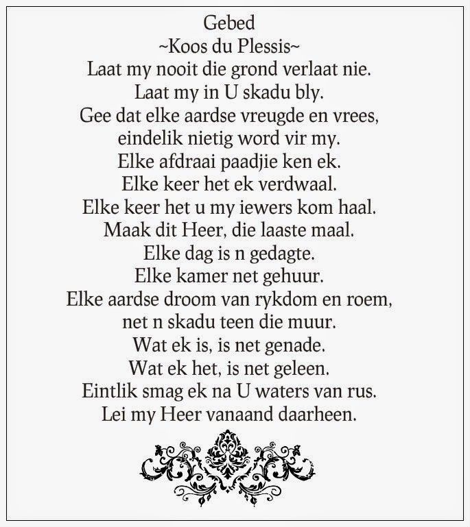 Afrikaanse Inspirerende Gedagtes Wyshede: Gebed van Koos du Plessis