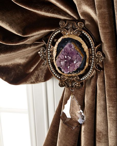 """6009 Parker Each Paris Geode Curtain Tieback $248.00  25% off : $186.00 Online Inquiries: HCF17_H864W  Resin tieback with Asfour crystal drop is embellished with a natural geode with crystal trim. Shape, size, and color of the natural stones vary. Each tieback is approximately 6""""W x 3.5""""D x 11""""T, with 5"""" stem (approximate depth from wall is 8.5""""). Made in the USA.  Read more at http://www.horchow.com/6009-Parker-Each-Paris-Geode-Curtain-Tieback/cprod118250014/p.prod#cWJ7szmYhbhSebUB.99"""