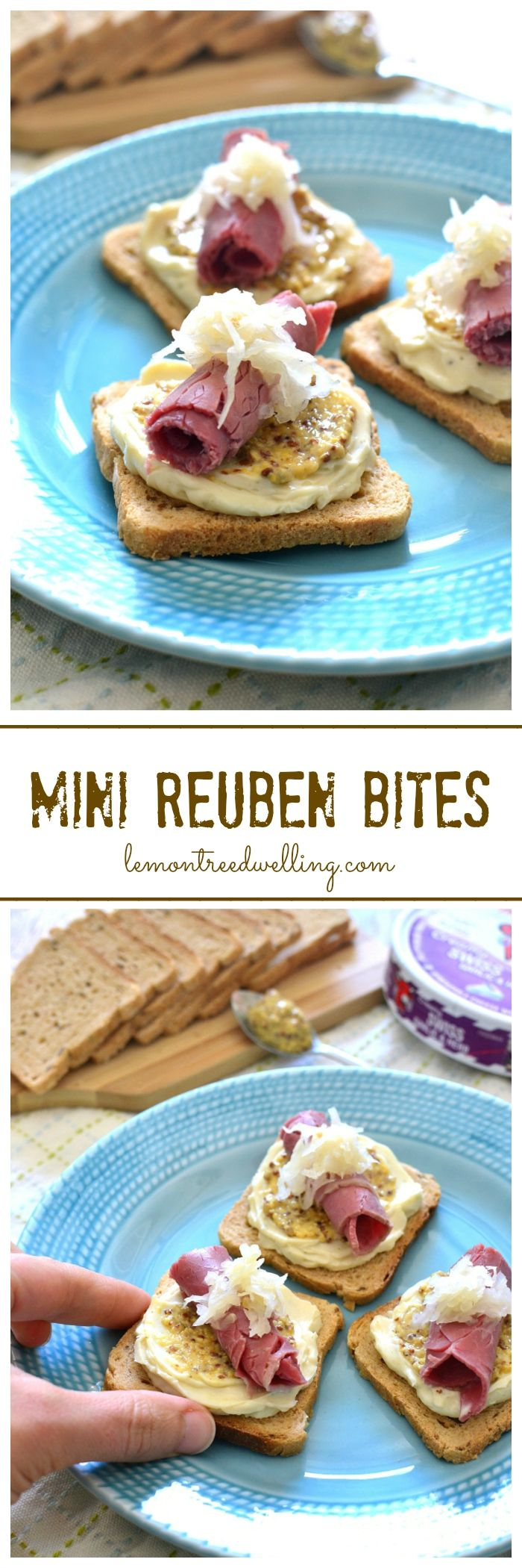 Open-face Reuben Bites made with The Laughing Cow Creamy Swiss Garlic & Herb cheese and all the fixings!