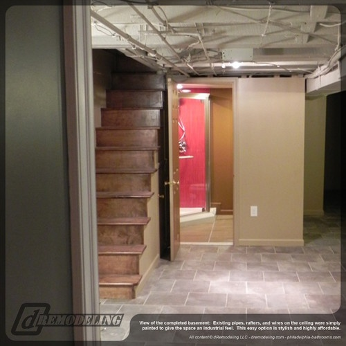 Contemporary Basement Renovation  Prefer The White (inexpensive Ceiling  Idea)   Staggered Floor Tiles