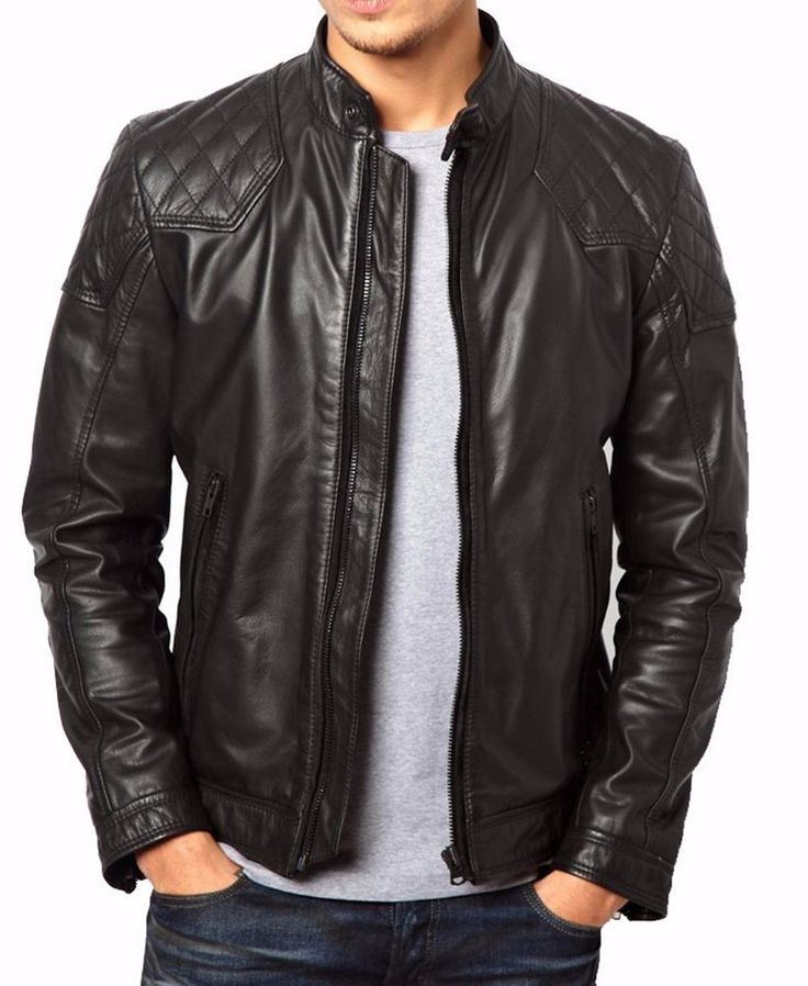 New Men's Genuine Lambskin Leather Jacket Slim fit Biker Motorcycle jacket-MX03 #LeatherLifestyle #Motorcycle