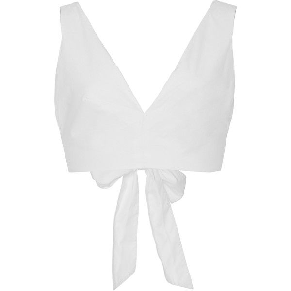 Kalita     Bow Tie Cropped Tank (4.950 ARS) ❤ liked on Polyvore featuring tops, white, v neck crop top, v neck tank, v-neck tank tops, cotton tank tops and white singlet
