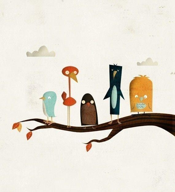 Bird Branch Print 8x10 by falldowntree on Etsy, $15.00