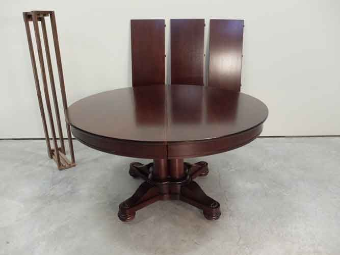 Empire Style 54 Round Mahogany Pedestal Dining Table With 3