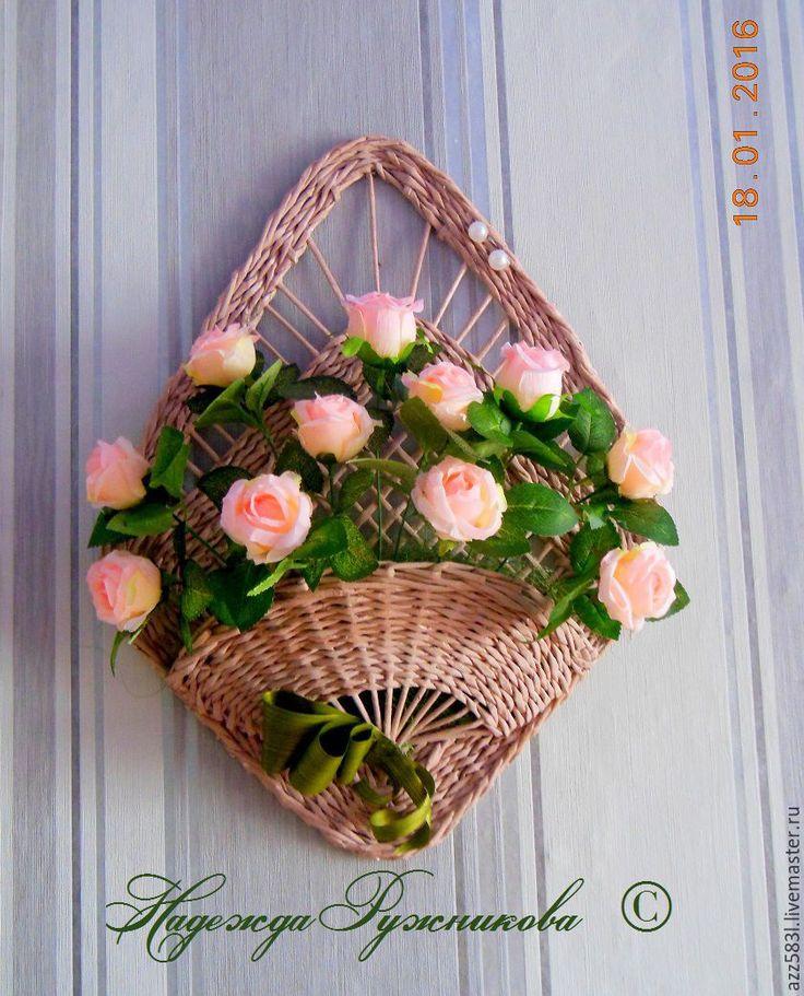 Купить Панно-ваза, с флористической композицией из роз - розовый, ваза, для дома и интерьера, кашпо для цветов