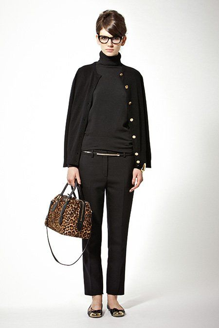 Professional Look for an Artist All black + leopard bag. Two of my favorite things.