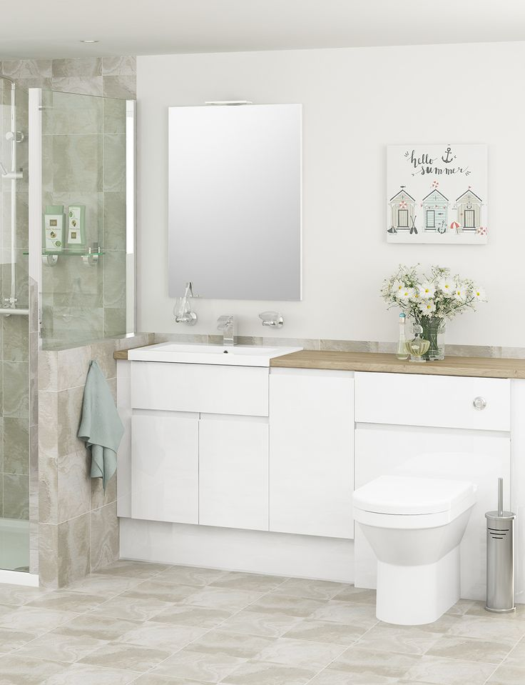 Choose from three styles of elegant White Gloss furniture. The bright gloss finish will reflect light into the space for a refreshing look. White Gloss bathroom furniture is the most popular style in the UK. It provides a blank canvas to decorate the room however you like.
