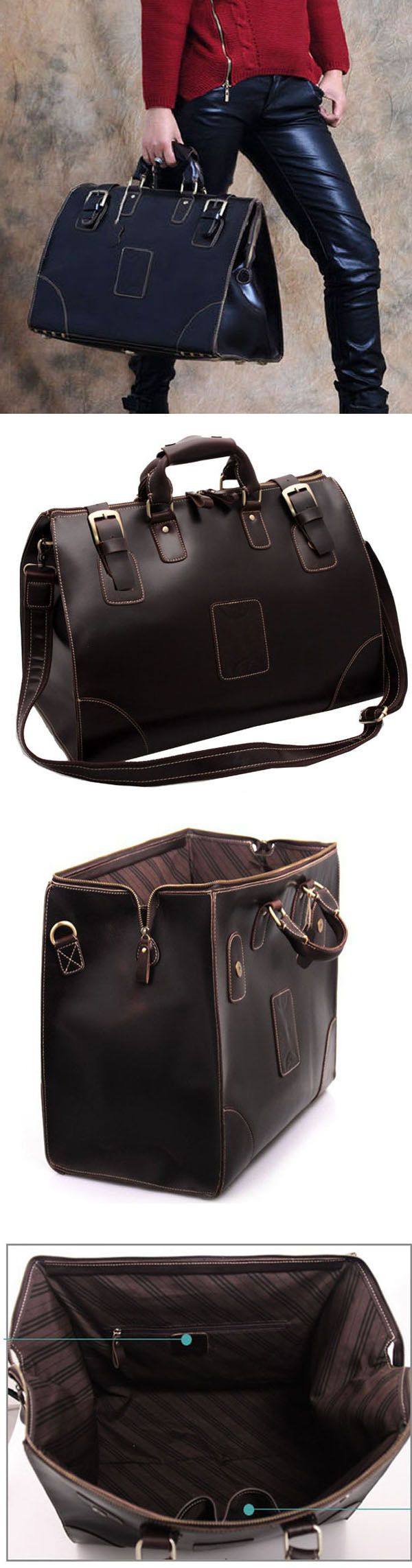 cool leather travel duffle