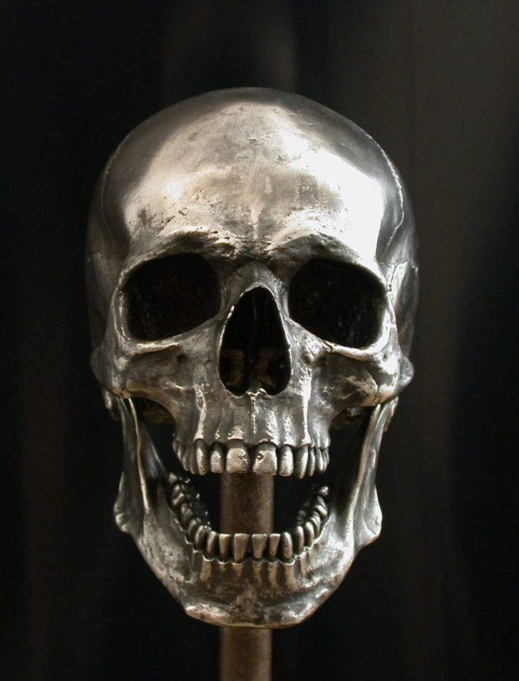 Silvered Bronze Full size Human Skull - Articulated jaw