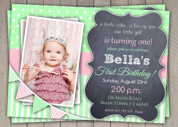 17 Best images about 1st Birthday Cakes and Invitations - Girls on ...