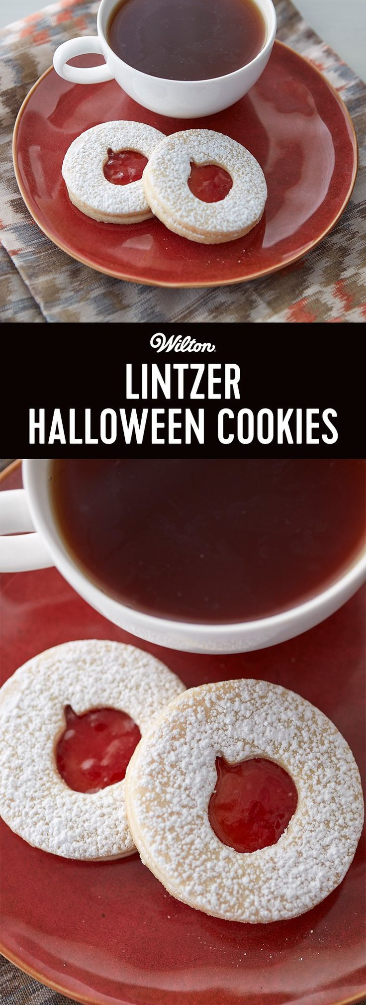 Lintzer Halloween Cookies - Here is the perfect treat for the more refined trick-or-treaters. Traditional Linzer cookies take on a Halloween look with a pumpkin cut out on the top cookie, showing the bright and tasty raspberry preserves inside! #cookierecipe #halloweencookies