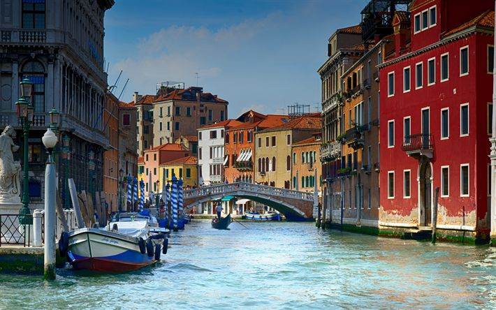 Download wallpapers Venice, 4k, canal, gondolas, waterway, Europe, Italy