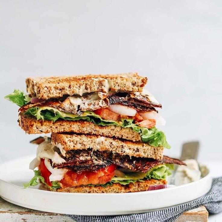 "vegan blt sandwich with eggplant bacon & mayo by @minimalistbaker  veggies blt-sandwich mit auberginen ""speck"" & kichererbsenmayonnaise  сэндвич с венским беконом из баклажанов и майонезом из нута #doablerecipes"