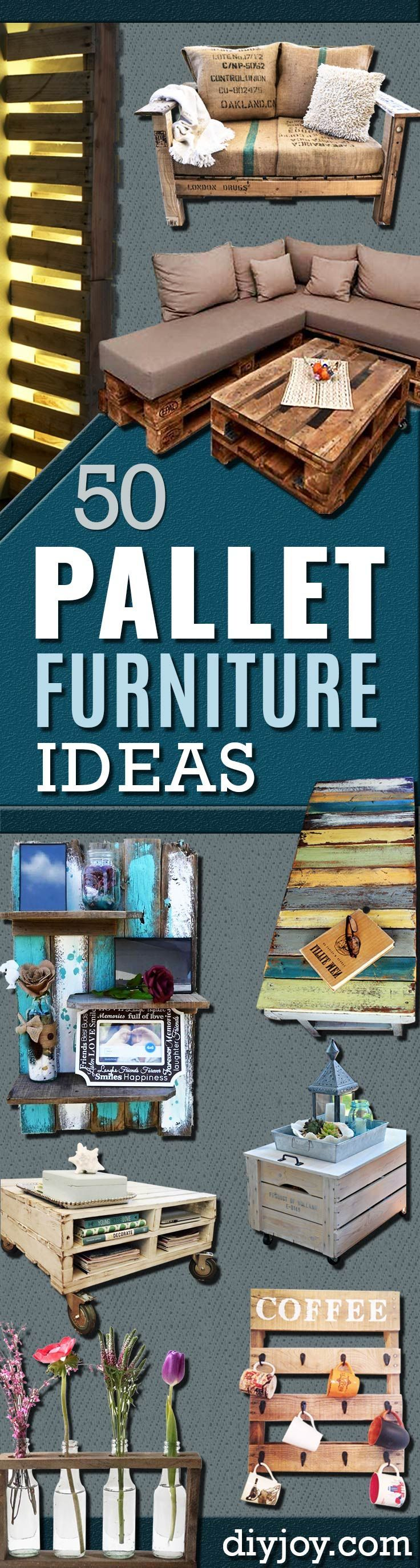 DIY Pallet Furniture Ideas - Best Do It Yourself Projects Made With Wooden Pallets - Indoor and Outdoor, Bedroom, Living Room, Patio. Coffee Table, Couch, Dining Tables, Shelves, Racks and Benches http://diyjoy.com/diy-pallet-furniture-projects