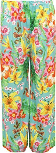 Fashion Oasis Womens Standard  Plus Plain  Floral Print Palazzo Trousers SM 68 Green Leaf * Find out more about the great product at the image link.