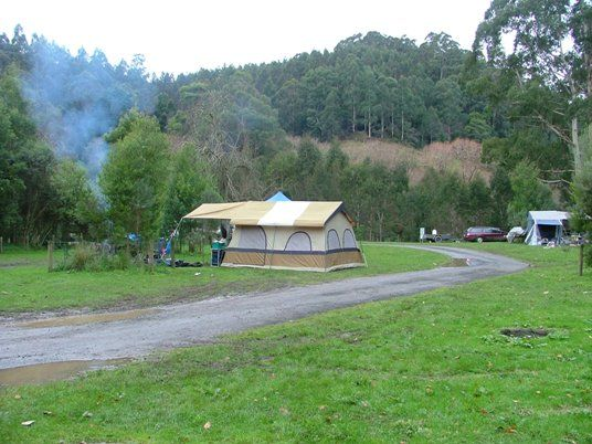stevenson's falls, free camp site along the great ocean road.  problem is you arnt able to book