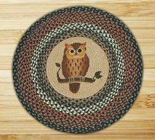New Country Rustic OWL BRAIDED RUG Floor Mat Brown, Rust, Green Round 27