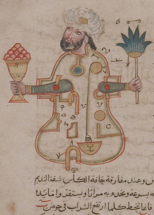 "The Metropolitan Museum of Art, Rogers Fund, 1955. ""Figure for Use at Drinking Parties"", Folio from a Book of the Knowledge of Ingenious Mechanical Devices by al-Jazari. Probably Syrian, dated A.H. 715/A.D. 1315."