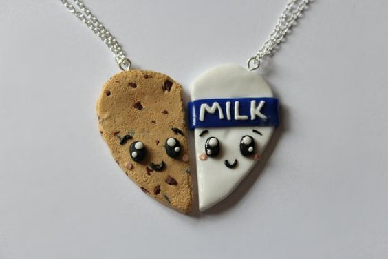 Cookies and Milk Friendship Necklaces by CharmingClayCreation, £10.00: