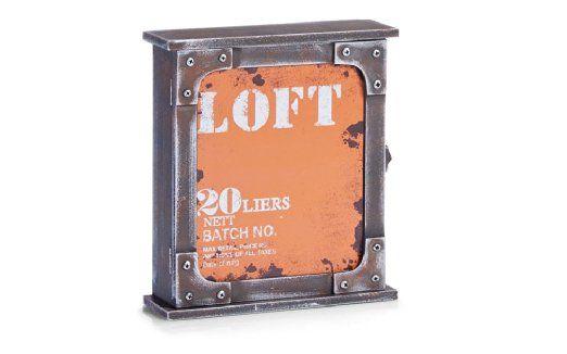 Zeller 99337 Loft - Caja para llaves (madera DM, 22 x 7 x 26 cm), color naranja