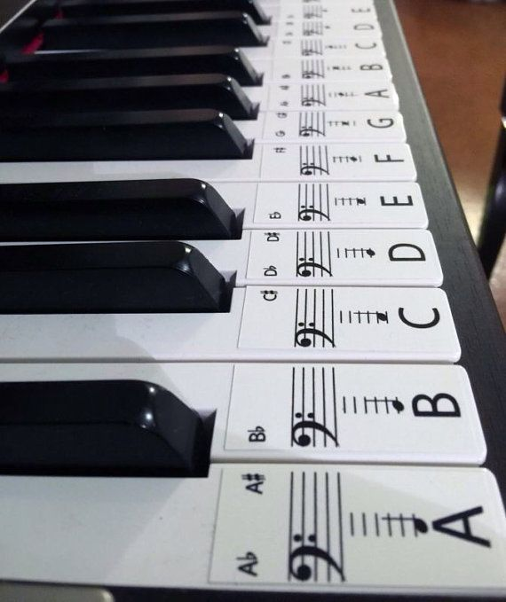 This set of label stickers is for a 88 key piano or keyboard, Labels are in order ready to be placed on the keys with middle C highlighted for easy reference. Labels are easily removed if needed. Each Label is 20mm wide x 48mm long on an Opaque Gloss white paper.   The labels will help anyone wanting to learn piano, with the letter of the key and note placement on the bar to aid and help speed up the process of learning piano.  LET'S MAKE PIANO EASIER SO MORE CAN ENJOY ITS BEAUTIFUL MUSIC…