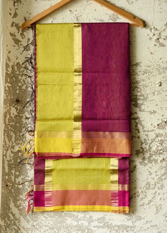 The Maheshwari sari, a favourite among women of all ages, was also designed by a woman. For making fabric for the royalty, queen Ahilyabai brought weavers from Surat and designed a unique sari, with motifs inspired by the local architecture and a striped Pallav. It was, and remains, an exemplar of graceful simplicity, yet refined and sophisticated. #handwoven #handloom #Maheshwar #sari #traditional #colours Chk@ http://shop.gaatha.com/index.php?route=product/product&product_id=1467