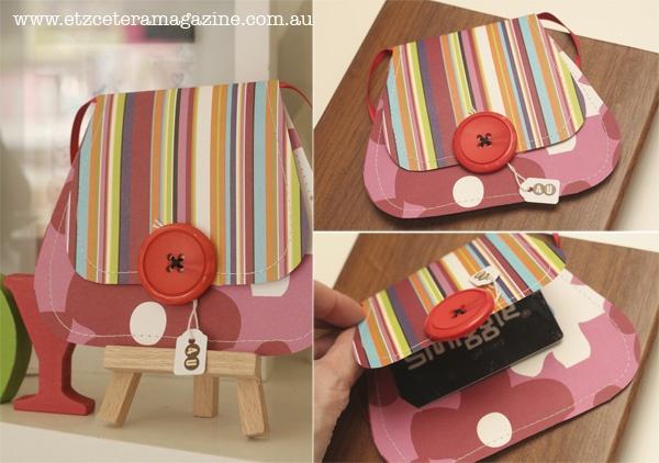 On the Etzcetera blog - Handbag Gift Card tutorial.