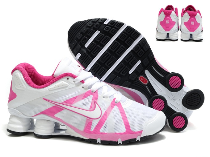 Nike Shox Turbo 12 Leather Shoes White Pink Womens Wholesale Chains