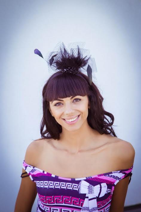 Black headband hair fascinator feather hat  unique by Irera