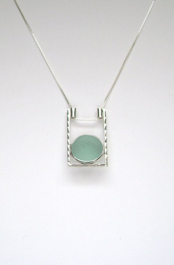 Sea Glass Jewelry  Sterling Aqua Sea Glass by SignetureLine