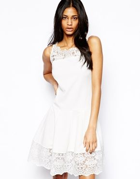 skater dress with lace trim / asos