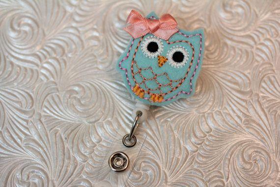 adorable owl  professional nurse badge holder  by DefinitelyYou