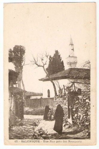 Selanik 1917-POSTCARD-STREET-REMPARTS-THESSALONIKI-GREECE-x