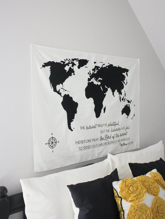 World Map Tapestry Black And White : world, tapestry, black, white, World, Bible, Verse, Scripture, Harvest, Custom, Tapestry,, Chris…, Canvas, Painting,, Tapestry