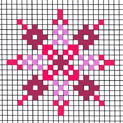 Simple snowflake. Use blues for Frozen. Perler beads, mosaics, perhaps