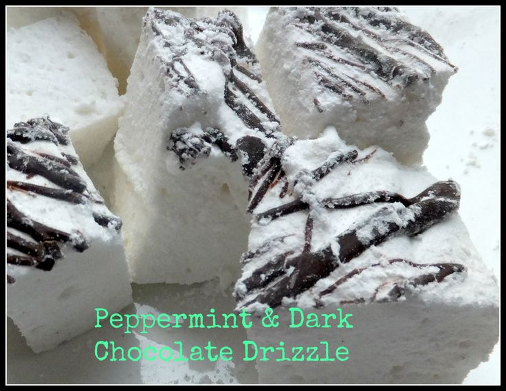 Peppermint Marshmallows drizzled in dark chocolate,  handmade in Ireland by Mallow Mia Gourmet Marshmallows.