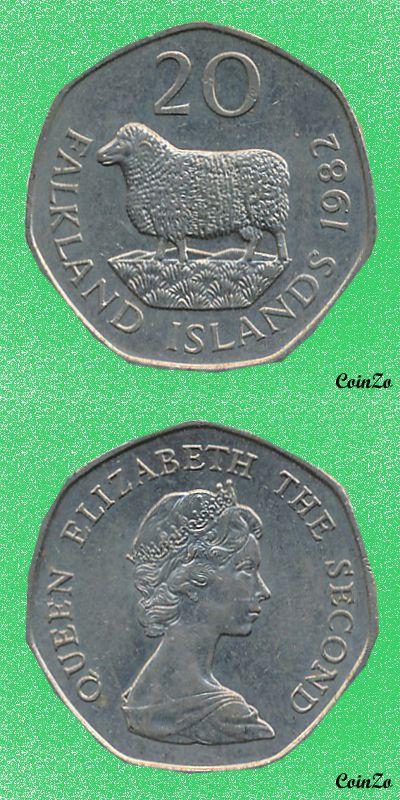 Romney, Falkland Islands 20 Pence 1982-1999 Copper-Nikel 5 g 21.9 mm KM-17