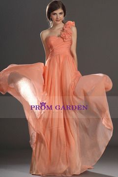 2015 Chiffon A Line Prom Dress One Shoulder With Handmade Flowers and ruffles
