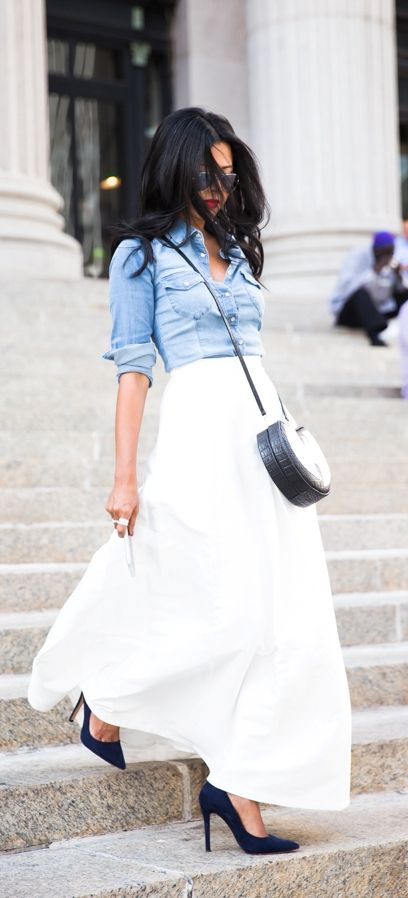 White maxi skirt with chambray and turquoise necklace, neutral shoes