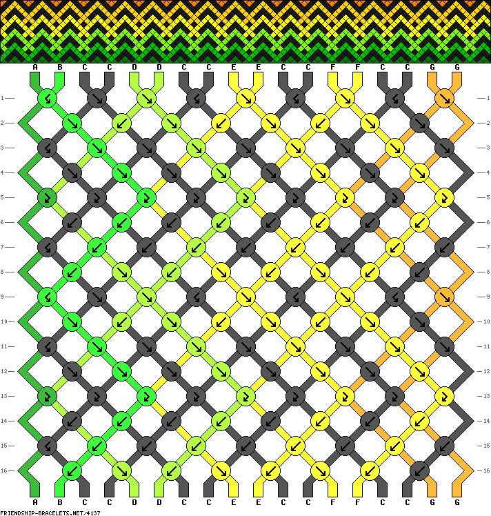 Friendship Bracelet Pattern 4137 -  18 strings, 7 colours