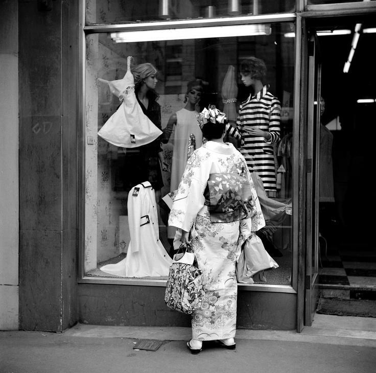 East meets West. Collins Street, Melbourne. 1969