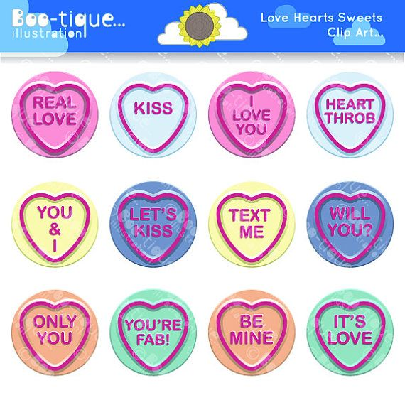 Love Hearts Sweets Clipart set for Instant Download