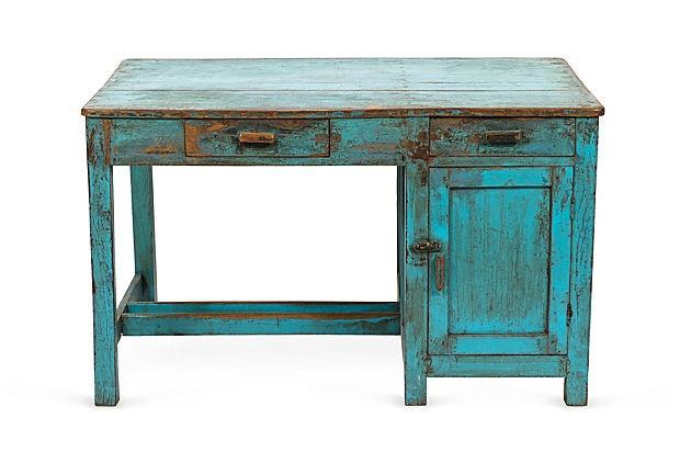 Vintage Blue Painted Desk On Onekingslane Furniture Favs