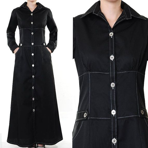 Tailored Cotton Shirt Dress Career Abaya Long by MissMode21