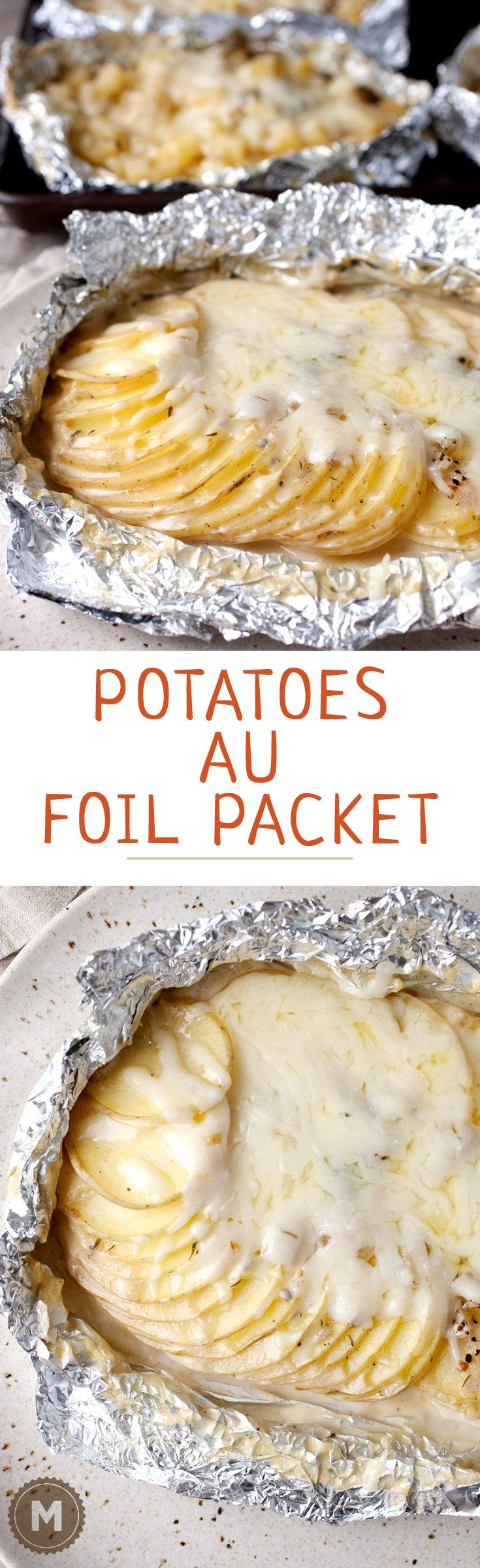 Potatoes Au Gratin Foil Packets: A classic French side dish made on the grill so you can keep your oven off! A great side dish for any grilled summer meal.   macheesmo.com