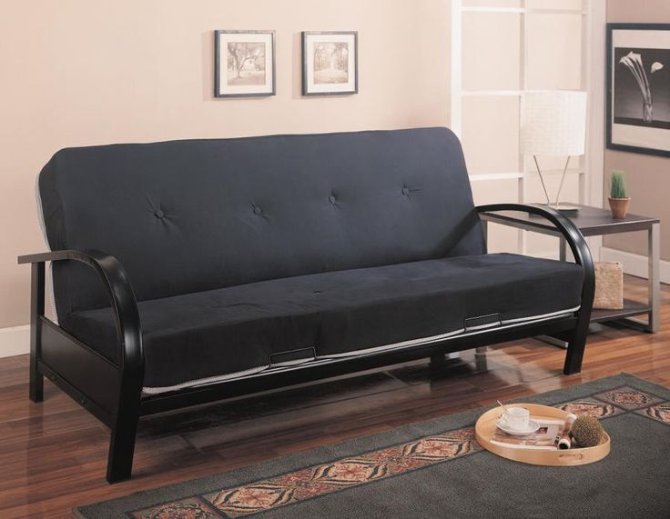 "Futon CS300159 Description : This cool contemporary futon frame will give your spare bedroom or den a stylish look. The sleek metal arms gently arc into simple square legs, with a smooth frame all in a Black metal finish. Easily convert from a couch for lounging, to a comfortable bed at night, ideal for overnight guests. Make the most of your space with this stylish futon. Mattress not included. Features : Color : Glossy Black Dimensions : Futon Frame : 41.50""W X 80.50""D X 33.50""H"