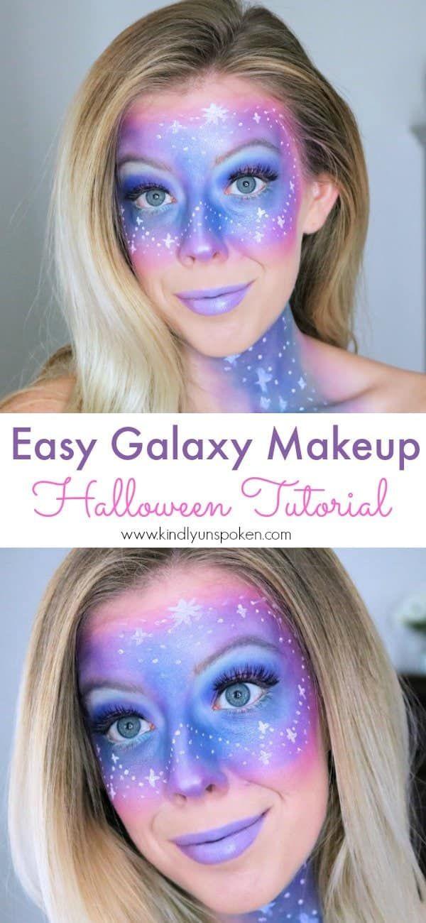 Easy Galaxy Makeup Tutorial For Halloween Galaxy Makeup Halloween Makeup Pretty Unique Halloween Makeup