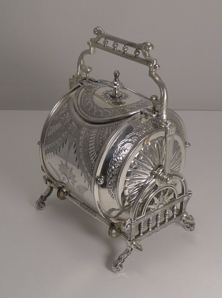 Unusual Silver Plated English Biscuit Box - Registered 8th May 1882   449335   Sellingantiques.co.uk
