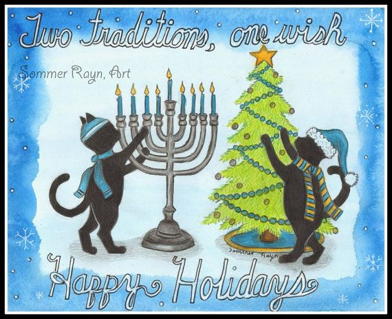 This water color was designed by the artist Sommer Rayn. What a fun way to celebrate both holidays, Christmas and Hanukkah. The Shadow Kitties are having so much fun showing each of their individual traditions. One kitty is wearing a Santa hat, the other his yarmulke. The menorah is beautiful and all the candles are lit. The other kitty is decorating his Christmas tree. What perfect way to acknowledge both holidays in a respectful way. This would be a wonderful card or print to celebrate…