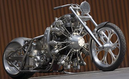 "Radial Hell ""Aero Bike"" by Jesse James - powered by a 7-cylinder Rotec radial aircraft engine"